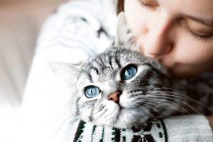 frau gibt katze einen kuss